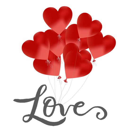 Heart-Shaped Balloons - Valentine's Day PNG Transparent Image - Instant Download