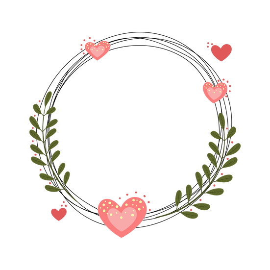 Floral Frame with Hearts - Valentine's Day Transparent Image - Instant Download