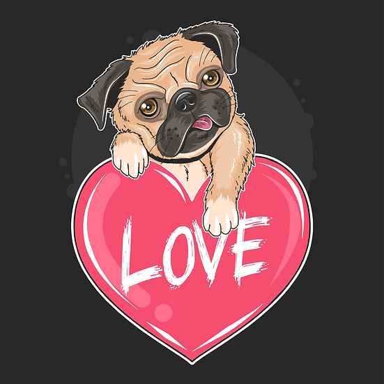 Cute Dog with Heart - Free PNG Images, Digital Download