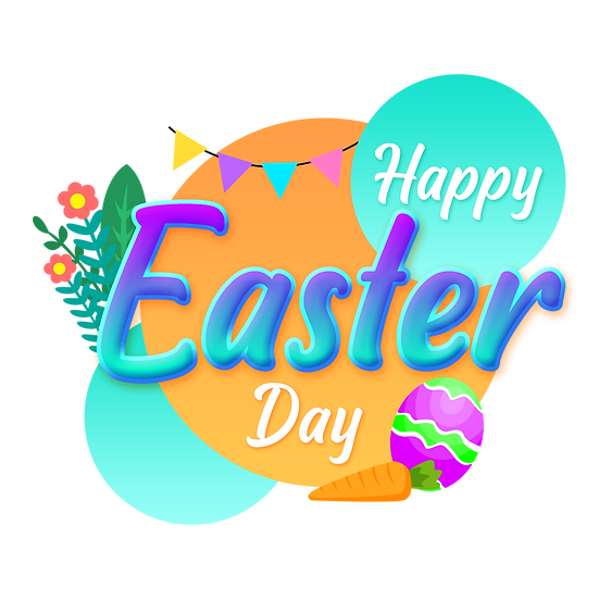 Happy Easter Great Greeting Card - PNG Transparent Image - Instant Download