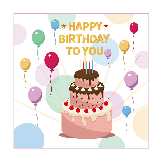Happy Birthday To You Inscription PNG Transparent Image - Instant Download