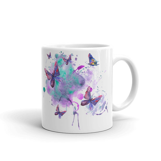 Watercolor Butterfly Party Coffee Cup Mug for Coffee / Tea White Ceramic Mugs1