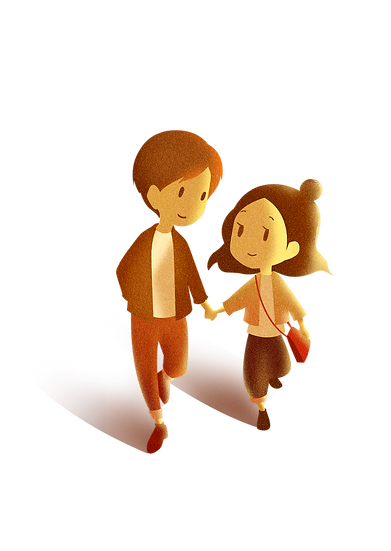 A Couple on a Walk - Valentine's Day PNG Transparent Image - Instant Download
