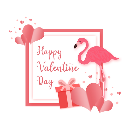 Happy Valentine Day Greeting Card with Flamingo - PNG Image - Instant Download