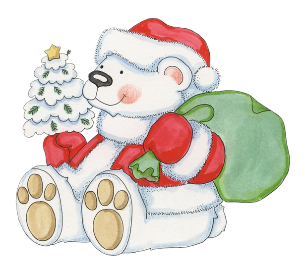 White Bear with Christmas Gifts Free PNG Images - Free Digital Image Download