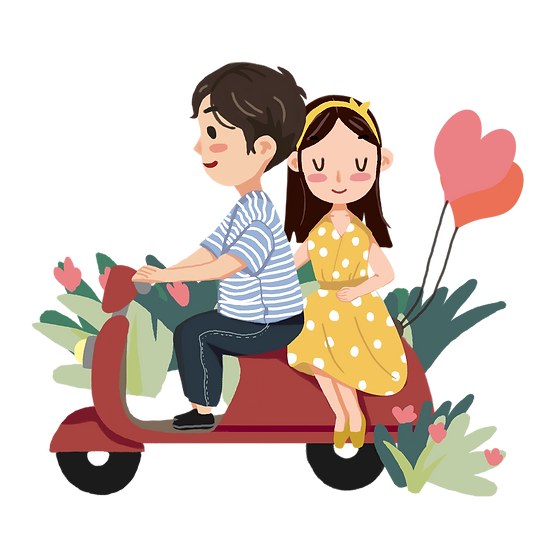 Couple on the Scooter- Valentine's Day PNG Transparent Image - Instant Download