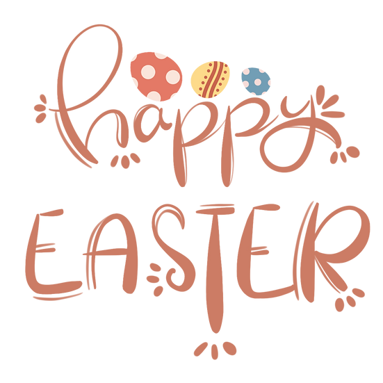 Happy Easter Inscription with Eggs - PNG Transparent Image - Instant Download