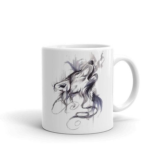 Watercolor White & Black Wolf Coffee Cup Mug for Coffee / Tea White Ceramic Mugs1