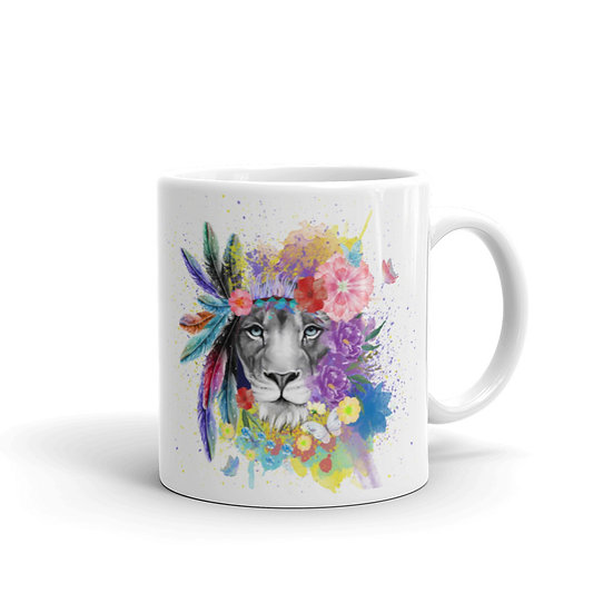 Exotic Watercolor Lion Coffee Cup Mug for Coffee / Tea White Ceramic Mugs1