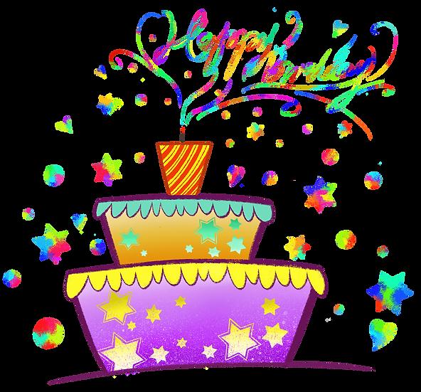 Colorful Birthday Greeting Card - PNG Transparent Image - Digital Download