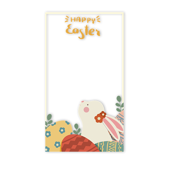 Adorable Easter Frame with Bunny - PNG Transparent Image - Instant Download