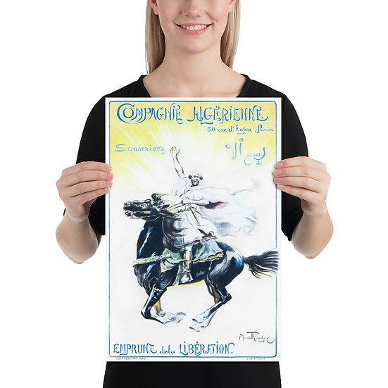 """WW1 French Poster """"Compagnie Algérienne Souscrivez / Emprunt de la Libération"""""""