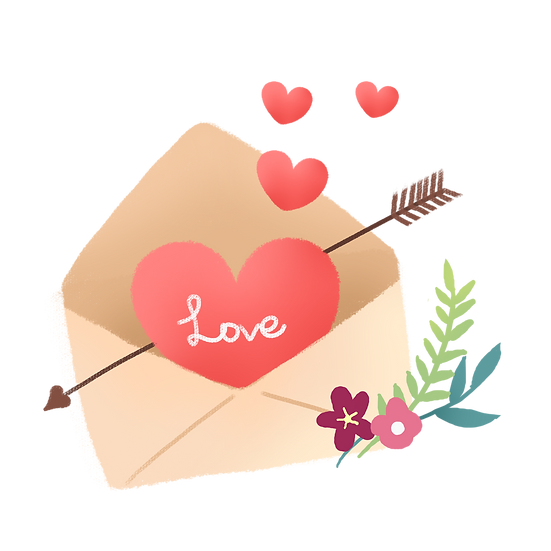 Love Letter with Heart - Valentine's Day PNG Transparent Image, Instant Download