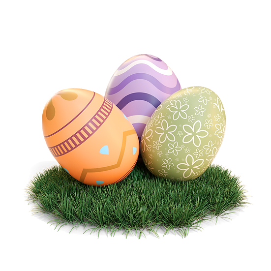 Easter Eggs on the Grass Clipart - PNG Transparent Image - Instant Download