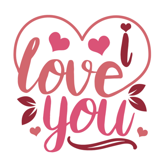 I Love You Pink Inscription - Valentine's Day PNG Image - Instant Download