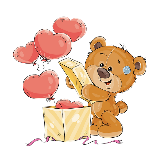 Teddy Bear Opening The Present - Valentine's Day PNG Image - Instant Download