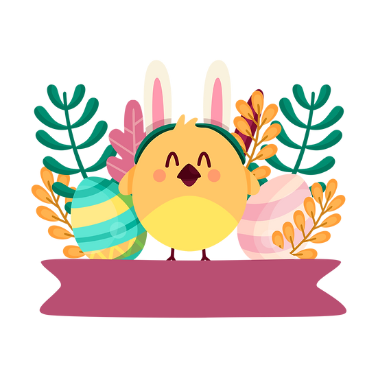 Happy Chick with Easter Eggs - Easter PNG Transparent Image - Instant Download