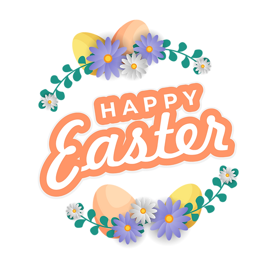 Happy Easter Floral Wreath Clipart - PNG Transparent Image - Instant Download