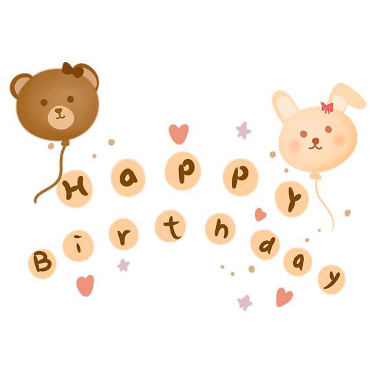 Cute Birthday Clipart with Balloons - PNG Transparent Image - Digital Download