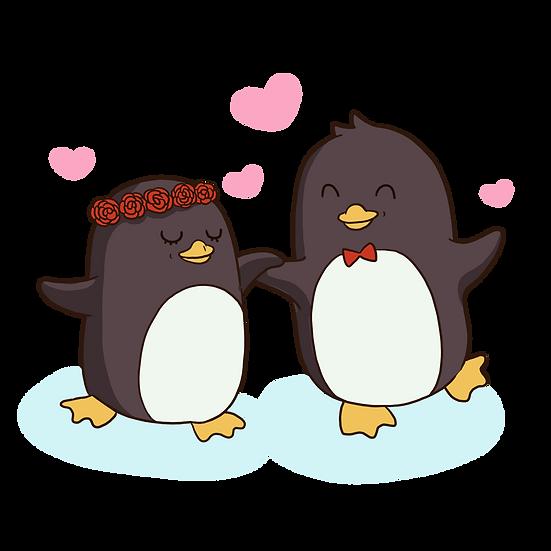 Dancing Penguins - Valentine's Day PNG Transparent Image - Instant Download