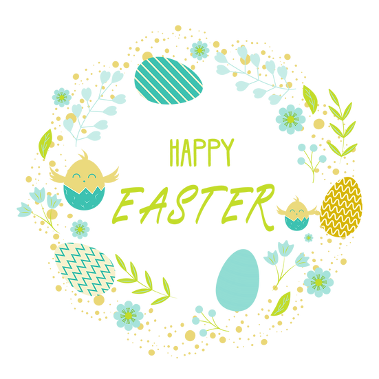 Easter Wreath Greeting Card - PNG Transparent Image - Instant Download