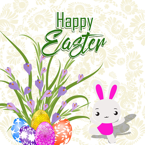 Happy Easter Cute Greeting Card - Easter PNG Image -Instant Download