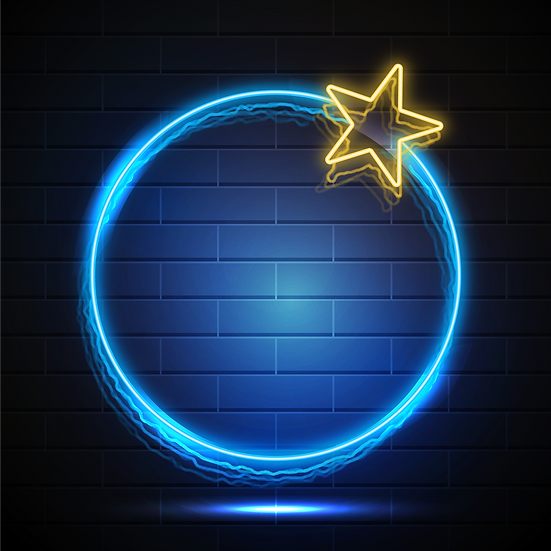Blue Neon Circle with Star - Free PNG Images,Digital Download