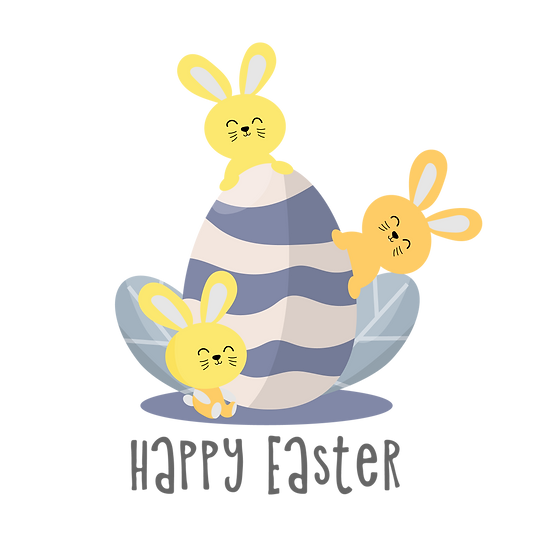 Easter Clipart with Bunnies and Egg - PNG Transparent Image - Instant Download