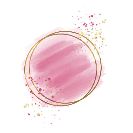 Gold Circle with Pink Brush Stroke - Free PNG Images, Digital Download