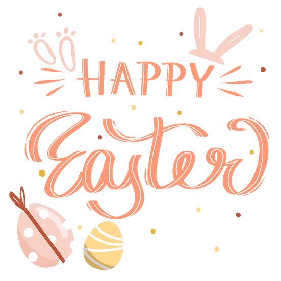 Happy Easter Lovely Clipart - PNG Transparent Image - Instant Download