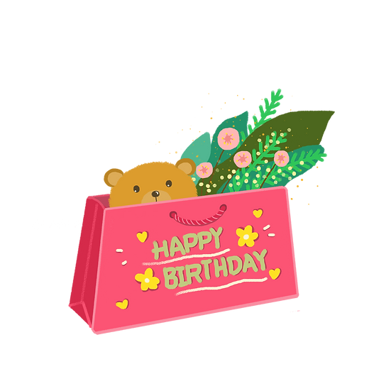 Cute Birthday Present Clipart - PNG Transparent Image - Digital Download