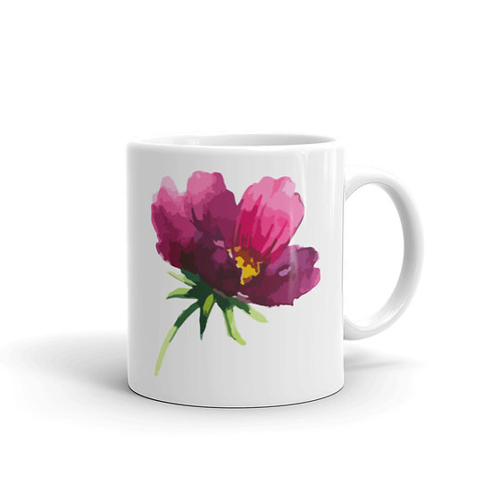 Watercolor Purple Flower Coffee Cup Mug for Coffee / Tea White Ceramic Mugs1