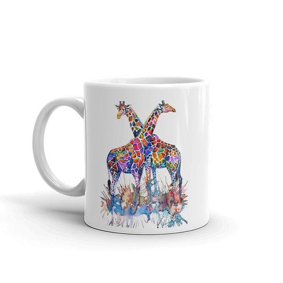 Watercolor Giraffe Couple Coffee Cup Mug for Coffee / Tea White Ceramic Mugs1