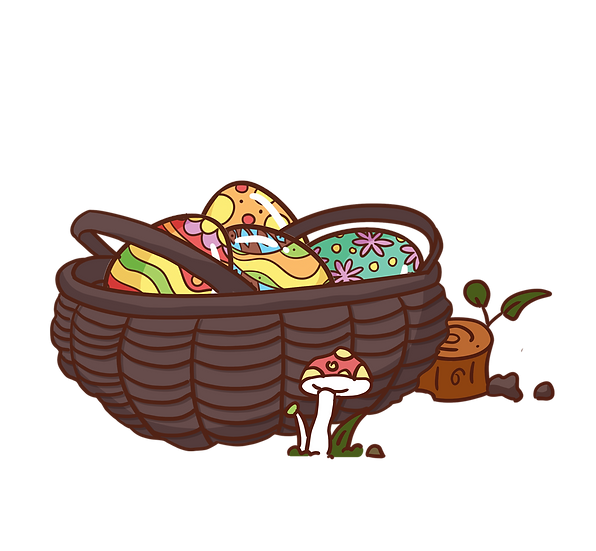 Easter Basket with Colorful Eggs - PNG Transparent Image - Instant Download