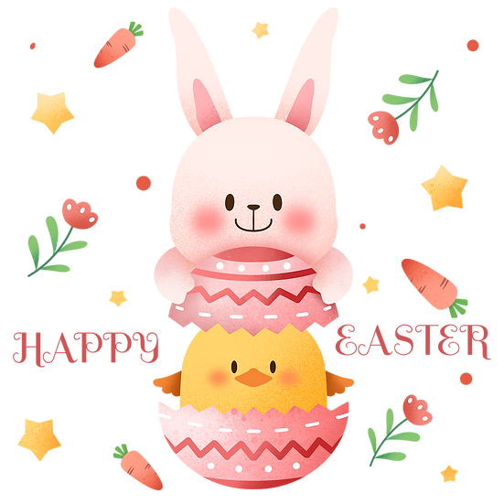 Adorable Clipart with Bunny and Chick in the Egg - PNG Image - Instant Download