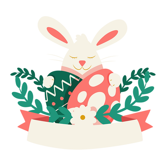 Peaceful Bunny Hugging Easter Eggs - PNG Transparent Image - Instant Download