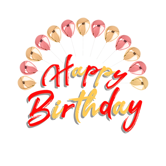 Happy Birthday Inscription with Metallic Balloons - PNG Image - Digital Download