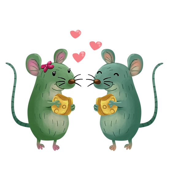 Mice Love Story - Valentine's Day PNG Transparent Image - Instant Download