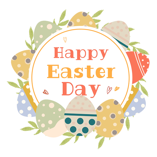 Happy Easter Day Fantastic Greeting Card - Transparent Image - Instant Download
