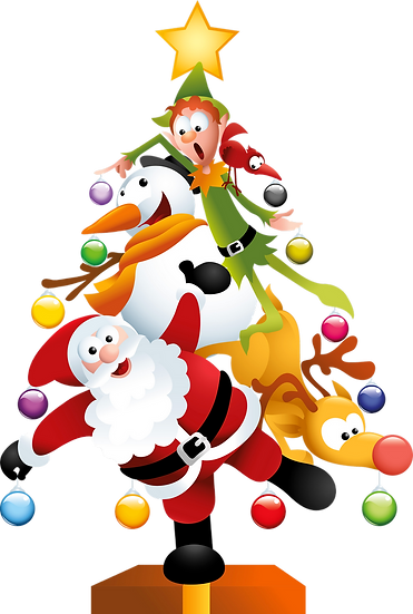 Santa Claus with Friends Xmas Tree Free PNG Images - Free Digital Image Download