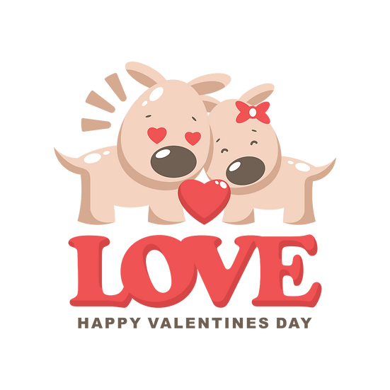 Dogs in Love - Valentine's Day PNG Transparent Image - Instant Download