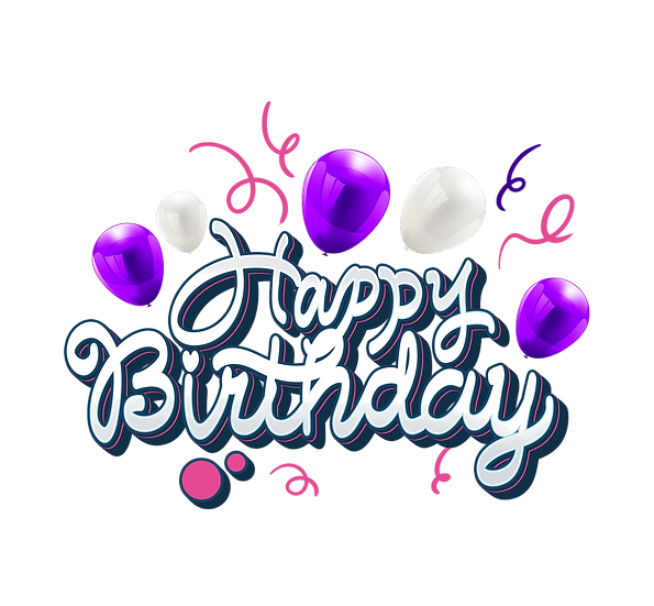 Birthday Clipart with Purple Balloons - PNG Transparent Image - Digital Download