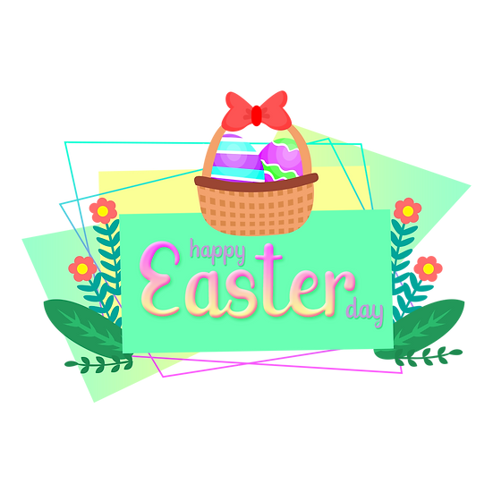 Easter Greeting Card with Basket of Eggs - Transparent Image - Instant Download