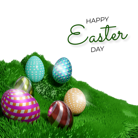 Easter 3D Clipart with Eggs on the Grass - Transparent Image - Instant Download
