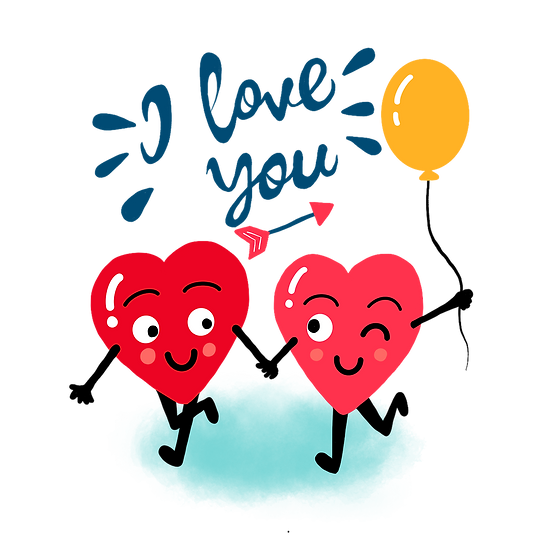 A Couple of Hearts with Balloon - Valentine's Day PNG Image - Instant Download