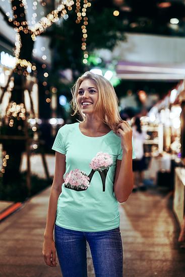 Floral Shoe Design Short-Sleeve Women's T-Shirt