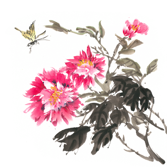 Butterfly and Flowers Painting- Free PNGTransparent Image, Instant Download