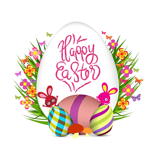 Happy Easter Beautiful Greeting Card - Easter PNG Image - Instant Download