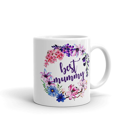 Best Mummy Flower Wreath - Gift for Mom, Cup for Mom, Mug for Coffee / Tea