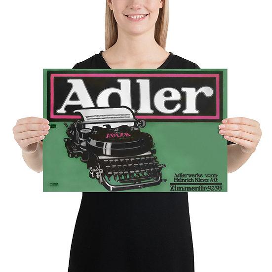 Vintage Adler Typewriter Poster. Retro Style Office / Home Decor Idea